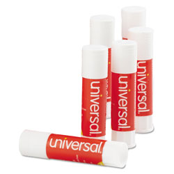 Universal Office Products Glue Stick, 0.28 oz, Applies and Dries Clear, 12/Pack
