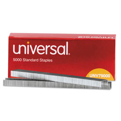 Universal Office Products Standard Chisel Point Staples, 0.25 in Leg, 0.5 in Crown, Steel, 5,000/Box