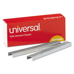 Universal Office Products Standard Chisel Point Staples, 0.25 in Leg, 0.5 in Crown, Steel, 5,000/Box, 5 Boxes/Pack, 25,000/Pack