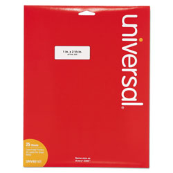Universal Office Products White Labels, Inkjet/Laser Printers, 1 x 2.63, White, 30/Sheet, 25 Sheets/Pack