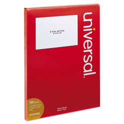 Universal Office Products White Labels, Inkjet/Laser Printers, 5.5 x 8.5, White, 2/Sheet, 100 Sheets/Pack