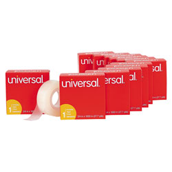 Universal Office Products Invisible Tape, 1 in Core, 0.75 in x 83.33 ft, Clear, 12/Pack