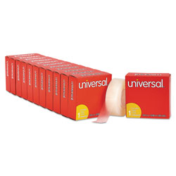 Universal Office Products Invisible Tape, 1 in Core, 0.75 in x 36 yds, Clear, 12/Pack