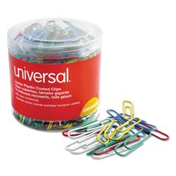 Universal Office Products Plastic-Coated Paper Clips, Jumbo, Assorted Colors, 250/Pack