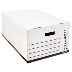 Universal Office Products Medium-Duty Easy Assembly Storage Box, Legal Files, White, 12/Carton