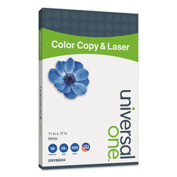 Universal Office Products Deluxe Color Copy & Laser Paper, 98 Bright, 28lb, 11 x 17, White, 500/Ream