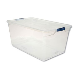 Rubbermaid Clever Store Basic Latch-Lid Container, 17 3/4w x 29d x 13 1/4h, 95qt, Clear