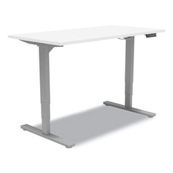 Union & Scale™ Essentials Electric Sit-Stand Desk, 55.1 in x 27.5 in x 25.9 in to 51.5 in, White/Aluminum