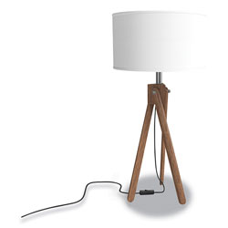 Union & Scale™ Essentials LED Wood Table Lamp, 26.18 in h, Espesso/White