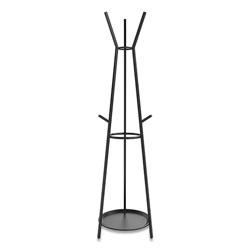 Union & Scale™ Essentials Coat Rack with Umbrella Stand, Six Hooks, Metal, 17.7 x 17 x 71.8, Black