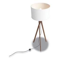 Union & Scale™ Essentials Wood Floor Lamp with Drum Shade, 57.5 in h, Espesso/White