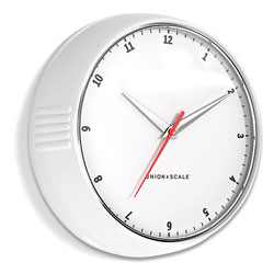 Union & Scale™ Essentials Mid-Century Round Wall Clock, 9.5 in Overall Diameter, White Case, 1 AA (Sold Separately)