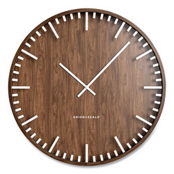 Union & Scale™ Essentials Round Wood Wall Clock, 15.7 in Overall Diameter, Espresso Brown Case, 1 AA (sold separately)