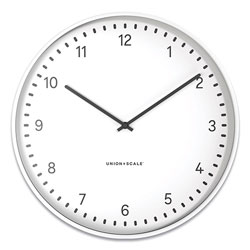 Union & Scale™ Essentials Contemporary Round Wall Clock, 15 in Overall Diameter, White Case, 1 AA (Sold Separately)