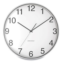 Union & Scale™ Essentials Round Aluminum Wall Clock, 15.7 in Overall Diameter, Silver Case, 1 AA (sold separately)