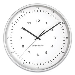 Union & Scale™ Essentials 12/24 Atomic Round Wall Clock, 12 in Overall Diameter, Gray Case, 1 AA (Sold Separately)