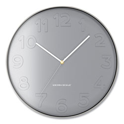 Union & Scale™ Essentials Mid-Century Round Wall Clock, 12 in Overall Diameter, Gray Case, 1 AA (Sold Separately)