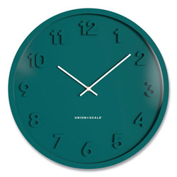 Union & Scale™ Essentials Mid-Century Round Wall Clock, 13 in Overall Diameter, Teal Case, 1 AA (Sold Separately)