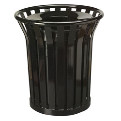United Receptacle Round Metal Outdoor Trash Can, 36 Gallon, Black