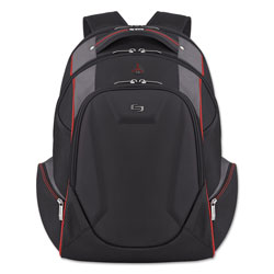 Solo Launch Laptop Backpack, 17.3 in, 12 1/2 x 8 x 19 1/2, Black/Gray/Red