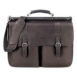 Solo Executive Leather Briefcase, 16 in, 16 1/2 in x 5 in x 13 in, Espresso