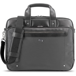 Solo Briefcase for 15.6 in Laptop, 3 inWx16-1/2 inLx13 inH, Gray