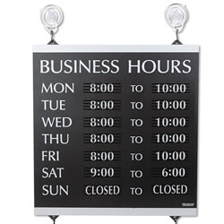 U.S. Stamp & Sign Century Series Business Hours Sign, Heavy-Duty Plastic, 13 x 14, Black