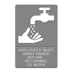 U.S. Stamp & Sign ADA Sign, EMPLOYEES MUST WASH HANDS... Tactile Symbol/Braille, 6 x 9, Gray