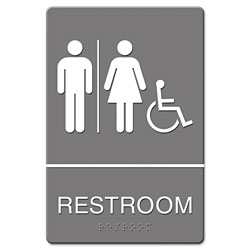 U.S. Stamp & Sign ADA Sign, Restroom/Wheelchair Accessible Tactile Symbol, Molded Plastic, 6 x 9