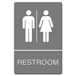 U.S. Stamp & Sign ADA Sign, Restroom Symbol Tactile Graphic, Molded Plastic, 6 x 9, Gray
