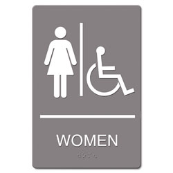 U.S. Stamp & Sign ADA Sign, Women Restroom Wheelchair Accessible Symbol, Molded Plastic, 6 x 9