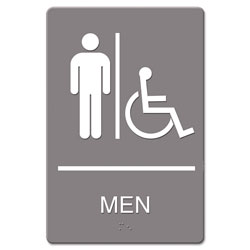 U.S. Stamp & Sign ADA Sign, Men Restroom Wheelchair Accessible Symbol, Molded Plastic, 6 x 9, Gray