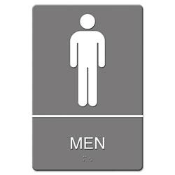 U.S. Stamp & Sign ADA Sign, Men Restroom Symbol w/Tactile Graphic, Molded Plastic, 6 x 9, Gray