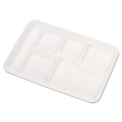 Chinet Heavy-Weight Molded Fiber Cafeteria Trays, 6-Comp, 8 1/2 x 12 1/2, 500/Carton