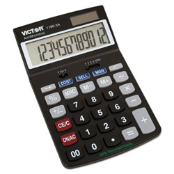 Victor 1180-3A Black 12-Digit Calculator, Cost/Sell/Margin