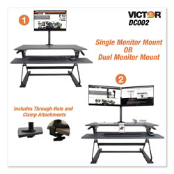 Victor Monitor Mount with Single and Dual Arm Components, 27.5w x 3d x 16.5h, Black