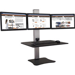 Victor High Rise Electric Triple Monitor Standing Desk - 23 in to 34 in Screen Support - 37.50 lb Load Capacity - 20 in Height x 28 in Width x 23 in Depth - Desktop, Tabletop - High Pressure Laminate (HPL) - Wood, Steel, Aluminum - Black, Aluminum