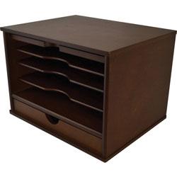 Victor Heritage Wood Desktop Organizer - 4 Compartment(s) - 1 Drawer(s) - 9.4 in Height x 13.3 in Width x 10.5 in Depth - Desktop - Natural - Wood - 1 Each
