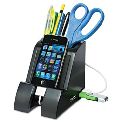 Victor Smart Charge Pencil Cup with USB Charging Hub, Black