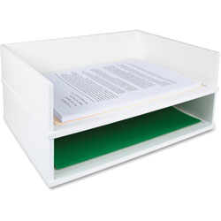 Victor Stacking Letter Tray, Side, 13 in x 10-3/5 in x 3-1/4 in, White