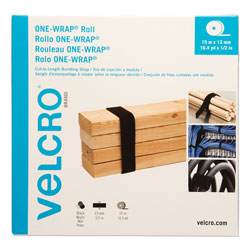 Velcro ONE-WRAP Cut-To-Fit Thin-Ties, 0.5 in x 49 ft, Black