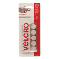 Velcro Sticky-Back Fasteners, Removable Adhesive, 0.63 in dia, White, 15/Pack