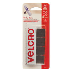 Velcro Sticky-Back Fasteners, Removable Adhesive, 0.88 in x 0.88 in, Black, 12/Pack