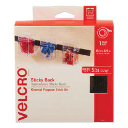 Velcro Sticky-Back Fasteners with Dispenser, Removable Adhesive, 0.75 in x 15 ft, Black