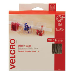 Velcro Sticky-Back Fasteners with Dispenser, Removable Adhesive, 0.75 in x 15 ft, White
