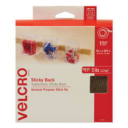 Velcro Sticky-Back Fasteners with Dispenser, Removable Adhesive, 0.75 in x 15 ft, Beige