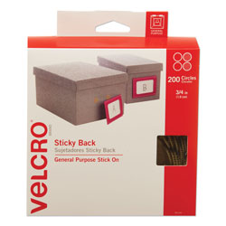 Velcro Sticky-Back Fasteners with Dispenser Box, Removable Adhesive, 0.75 in dia, Beige, 200/Roll