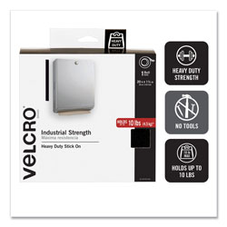 Velcro Industrial-Strength Heavy-Duty Fasteners with Dispenser Box, 2 in x 15 ft, Black