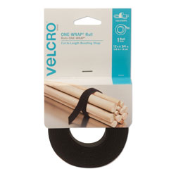 Velcro ONE-WRAP Pre-Cut Standard Ties, 0.75 in x 12 in, Black