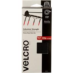 Velcro Industrial Strength Tape, Hook and Loop, Waterproof, 2 in x 4', BK